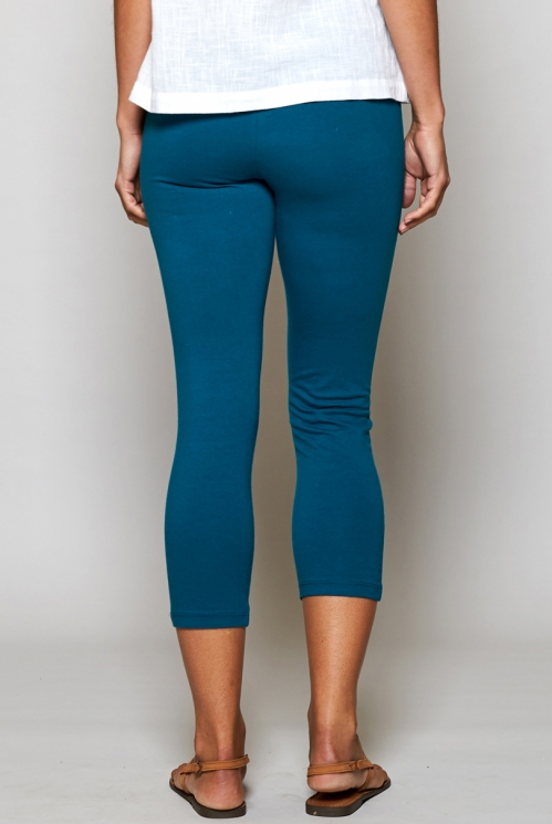 Teal Blue Fair Trade Plain Organic Cotton Cropped Leggings