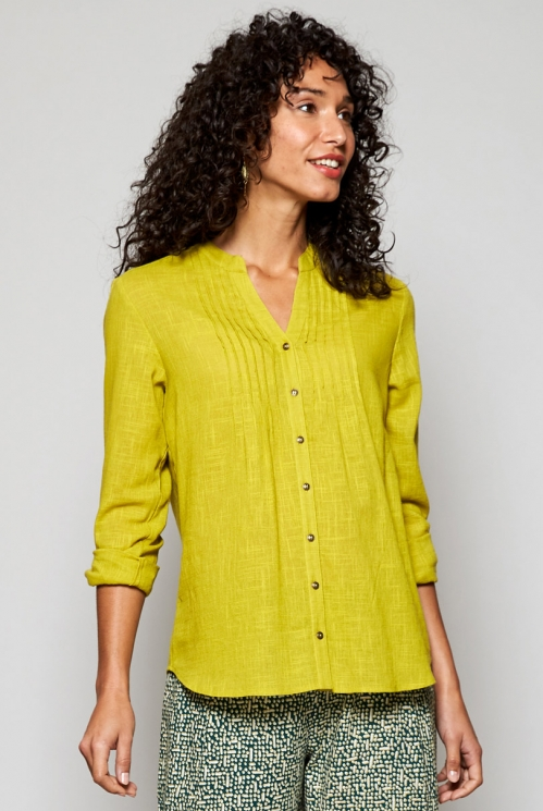 Citrus Green Fair Trade Plain Pintuck Cotton Shirt