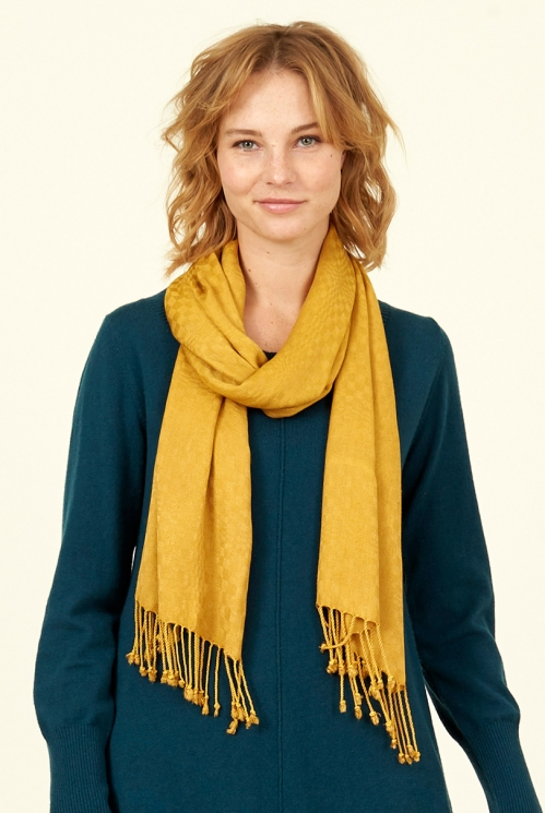 Dijon Plain Tassled Scarf