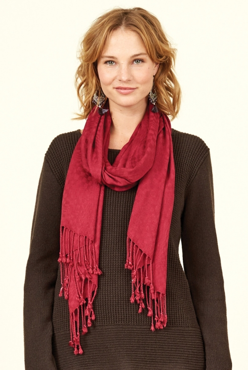 Damask Plain Tassled Scarf