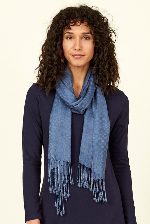 Sea Blue Plain Tassled Scarf