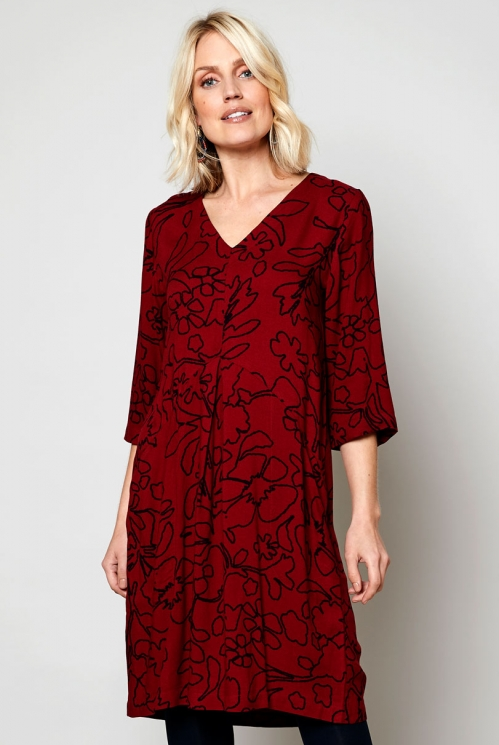 Fig Pleat Front Tunic Dress