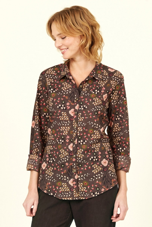 Mocha Printed Cotton Shirt