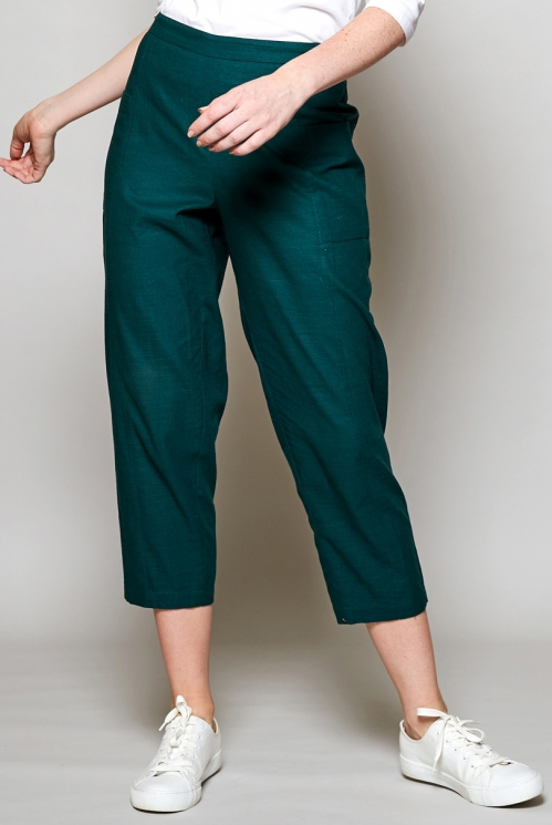 Pine Green Ethically Made Relaxed Fit Cotton Crop Trousers