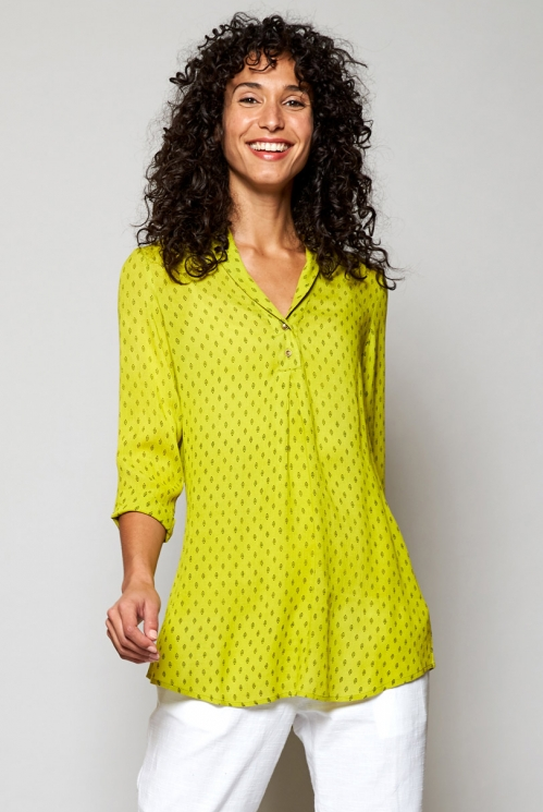 Citrus Green Fair Trade Rice Print Shawl Collar Tunic