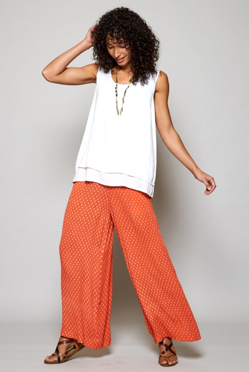 Papaya Orange Sustainable Rice Print Wide Leg Trousers