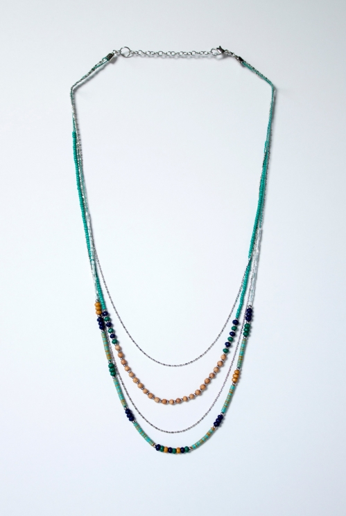 Blue Sari Necklace