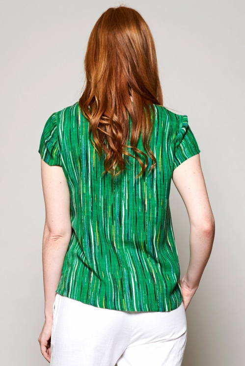 Leaf Green Sustainable Side Button Stripe Top