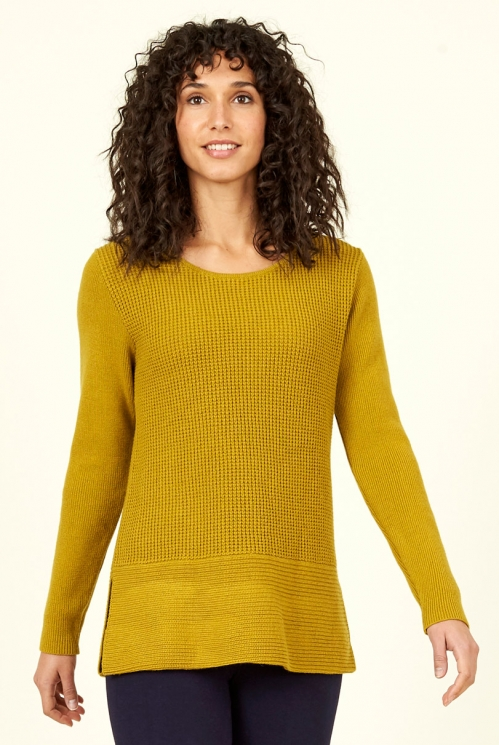 Citrine Side Split Merino Wool Jumper