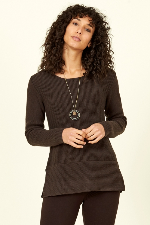 Chocolate Side Split Merino Wool Jumper