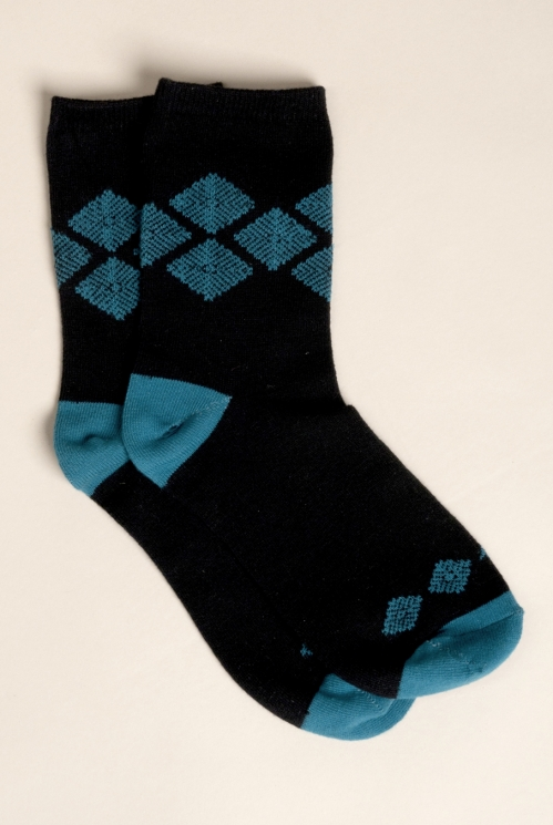 Gold Aztec Knit Socks (back)