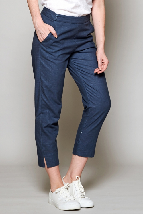 Storm Blue Fair Trade Slim Cropped Cotton Trousers