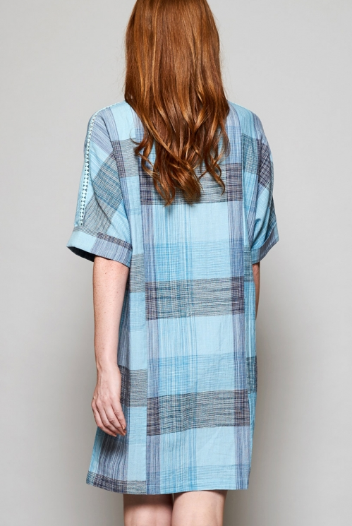 Sky Blue Sustainable Slouchy Handloom Tunic Dress with Patch Pockets