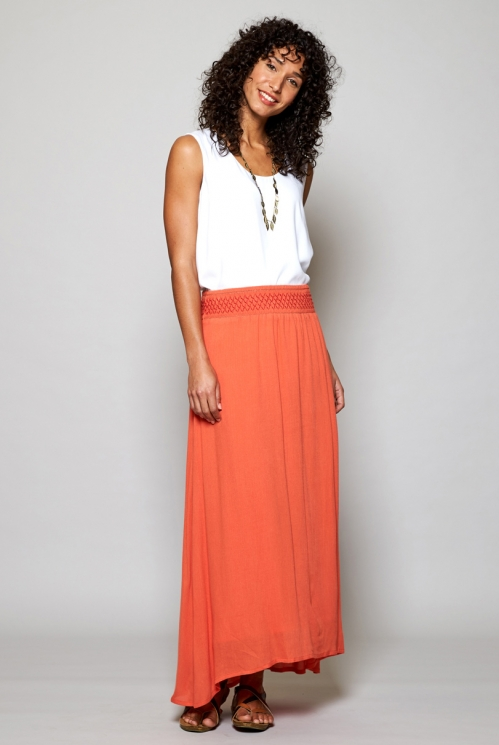Papaya Orange Sustainable Smocked Waist Maxi Skirt