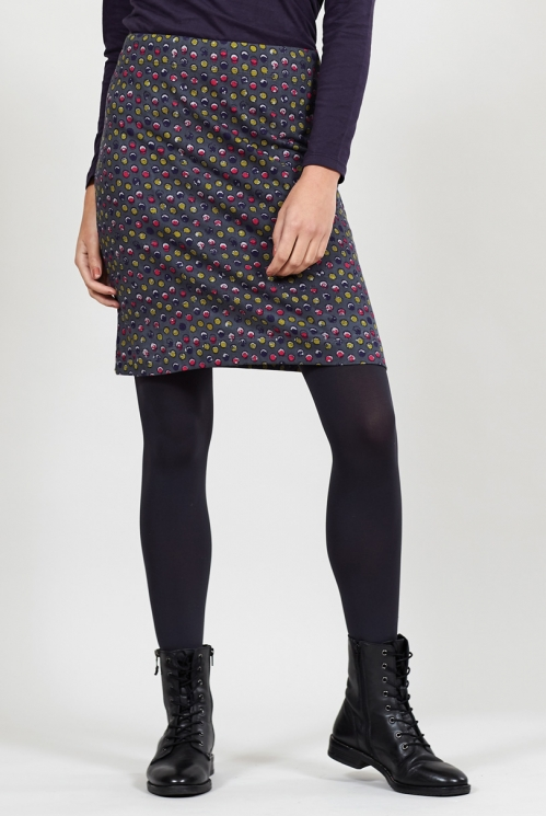 Steel Spotty Cotton Pencil Skirt
