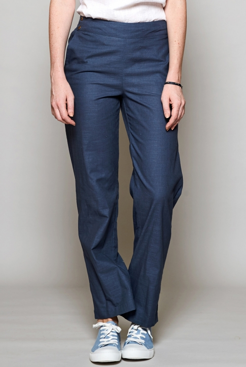 Storm Blue Ethically Made Straight Leg Cotton Trousers