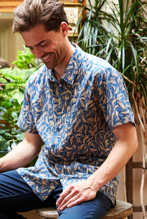 Storm Blue Sustainable Sundowner Short Sleeve Printed Cotton Shirt