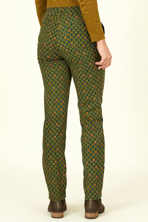 Antique Tapered Leg Cotton Stretch Trousers