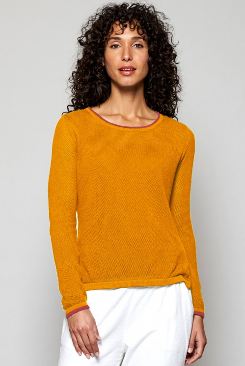Apricot Orange Ethically Made Textured Knit Organic Cotton Jumper