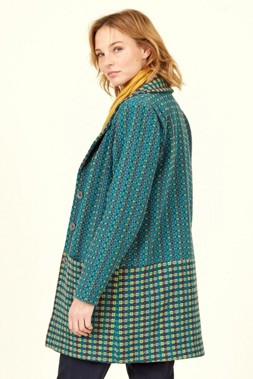 Marine Textured Weave Handloom Coat