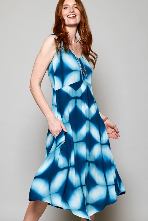 Teal Blue Ethically Made Tie Dye Viscose Midi Dress