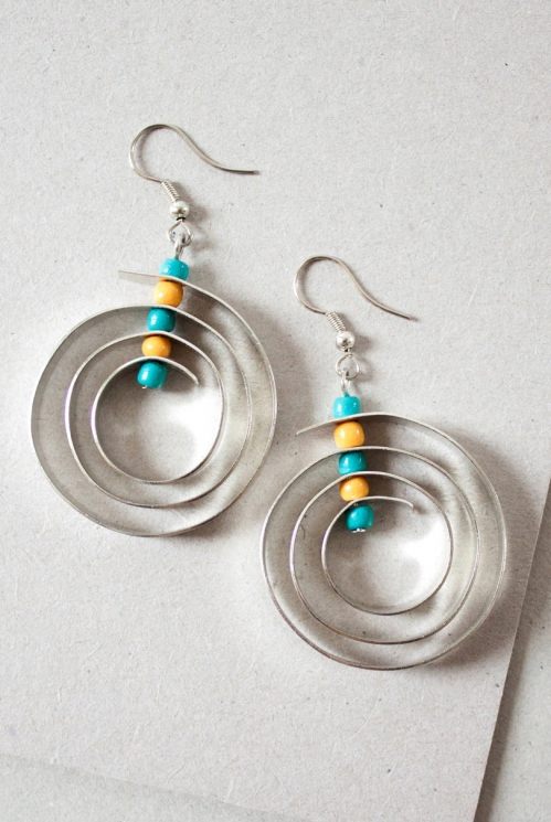Turquoise Blue Ethically Made Turquoise Bead Spiral Earrings