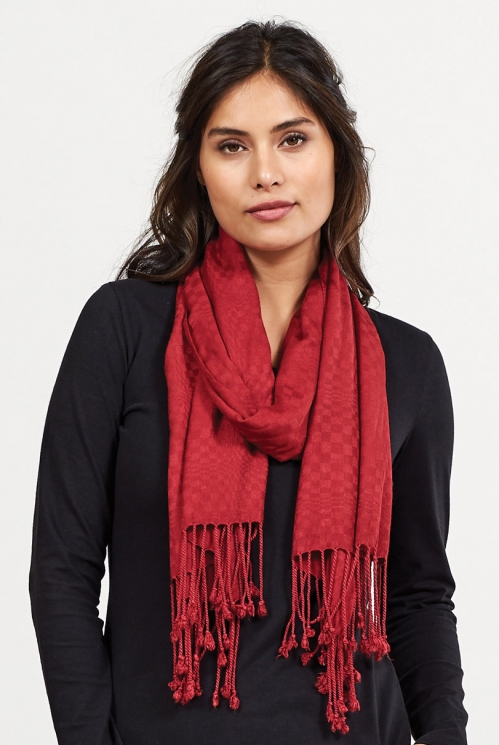 Claret Fair Trade Viscose Tassel Scarf