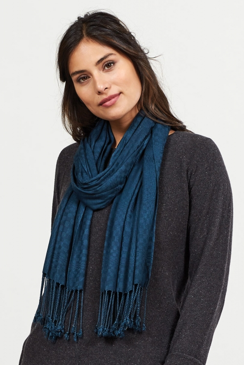Midnight Ethically Made Viscose Tassel Scarf