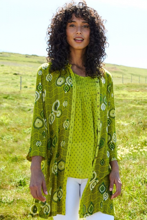 Citrus Green Fair Trade Zanzibar Longline Tunic Shirt