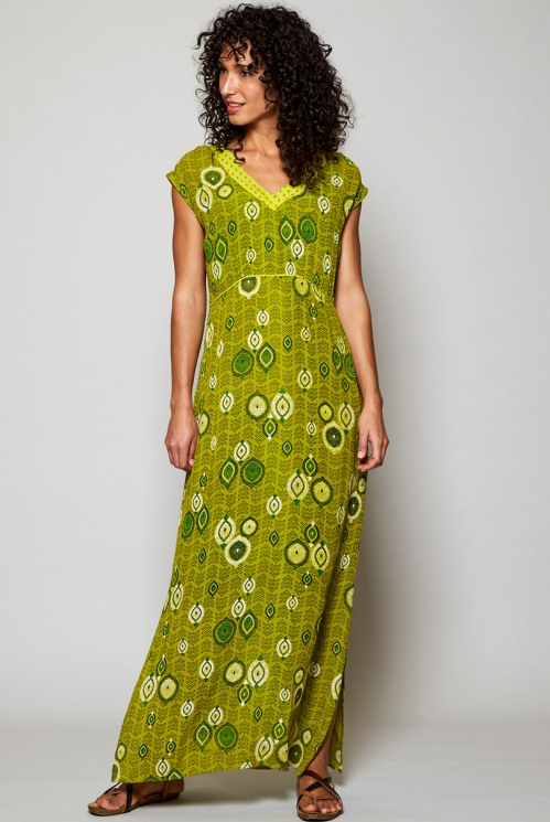 Citrus Green Sustainable Zanzibar Printed Maxi Dress