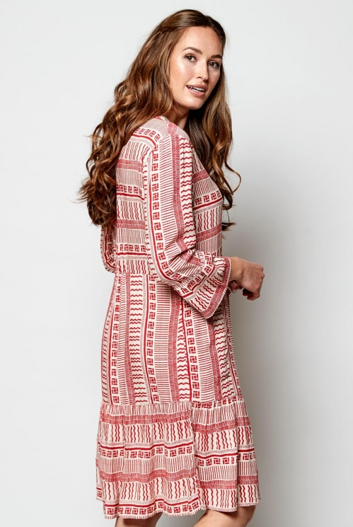 Pomegranate Zen 3/4 Sleeve Tunic Dress
