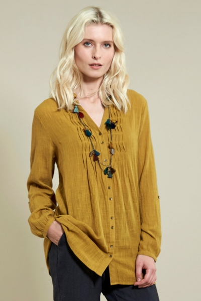 Zigzag Pin Tuck Shirt
