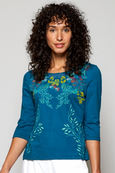 Botanical Print Organic Cotton ¾ Sleeve Top