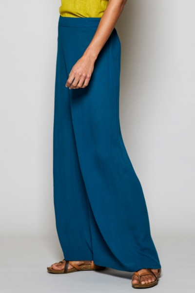 Crinkle Viscose Wide Leg Trousers