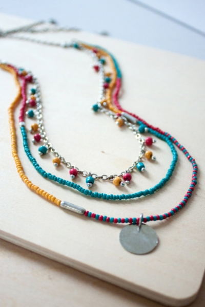 Layered Bead Ocean Necklace