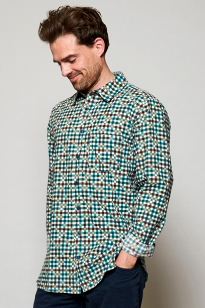 Long Sleeve Block Check Cotton Shirt