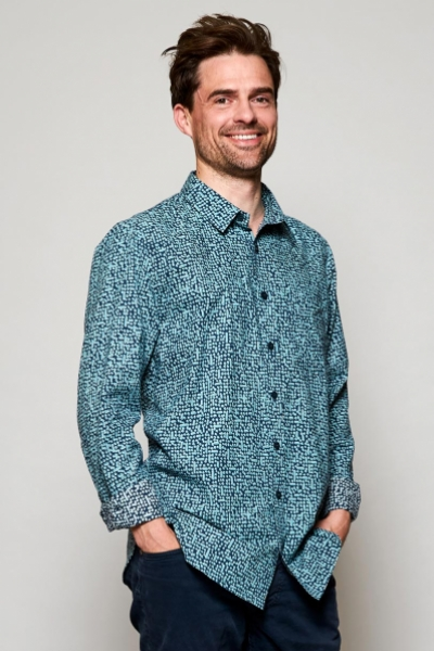 Long Sleeve Cobble Print Cotton Shirt
