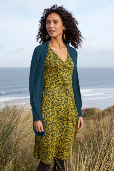 Long Sleeve Organic Cotton Crossover Wrap Dress