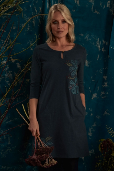 Organic Cotton Tunic Dress with Embroidery