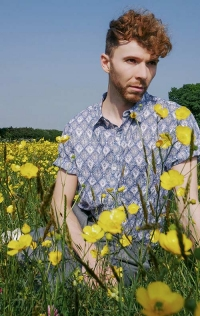 Luke Heywood male model in printed Nomads shirt