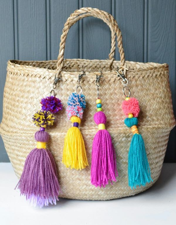 Simple diy colourful tassel bag charms on basket