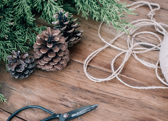 Natural twine and pine cones